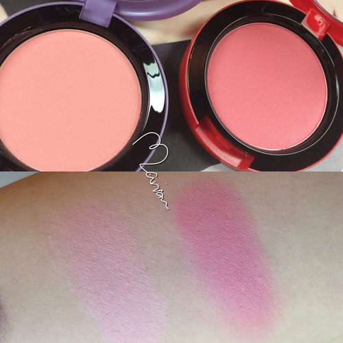 Blushes in (left) Cheeky Bugger, (right) Peaches & Cream